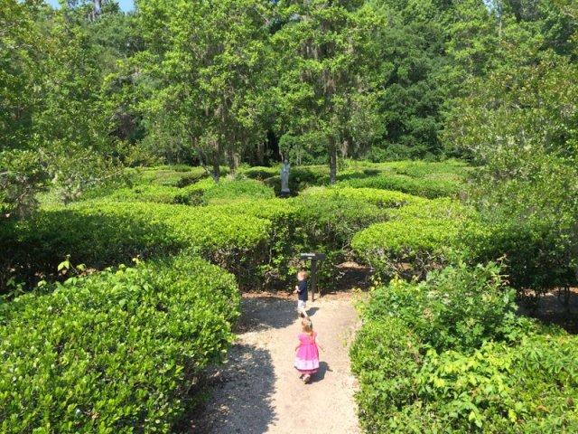 A & J entering the Magnolia Gardens hedge maze.