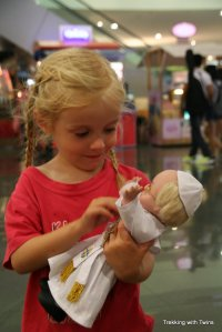 Aurora with Pope Francis Doll | Trekking with Twins