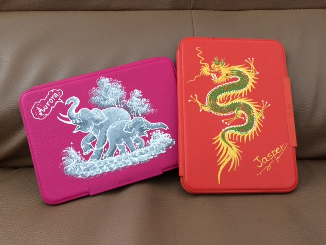 Hand painted Kindle covers.