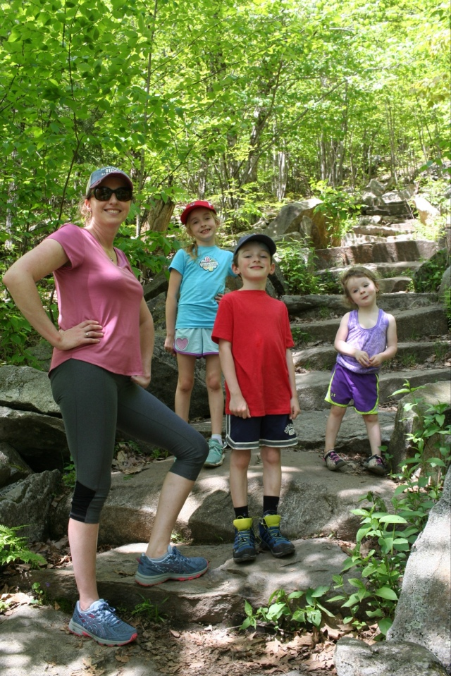 the family hiking on the Pine Hill Trail at Wachusett Mountain